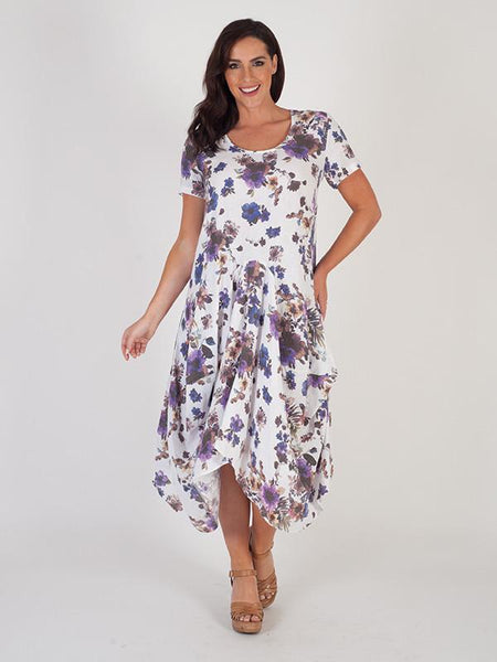 White/Purple Floral Print Linen Dress