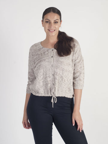Vetono Pebble  Marl Knit  Jumper with draw string trim at hem