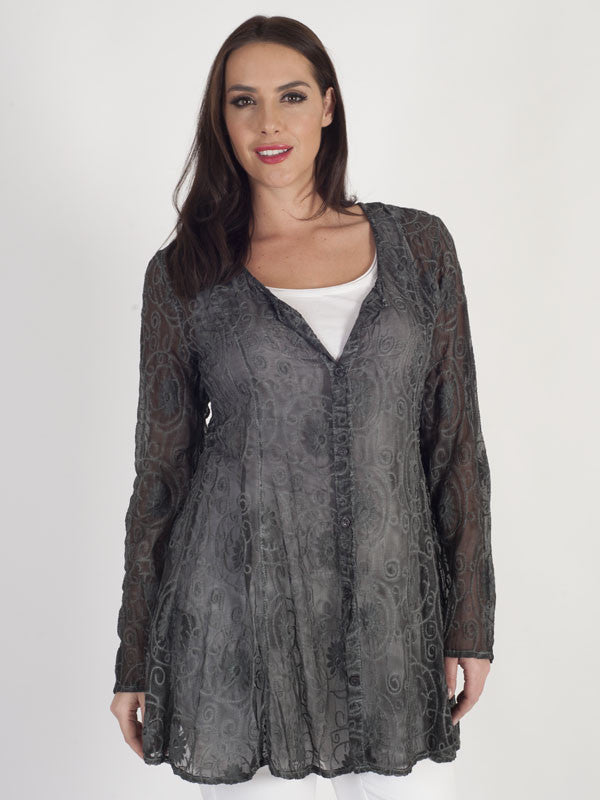 Vetono Charcoal Embroidered Georgette L/S Blouse