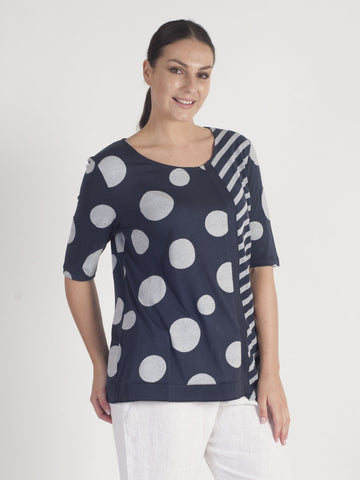 Vetono Navy Spot Top