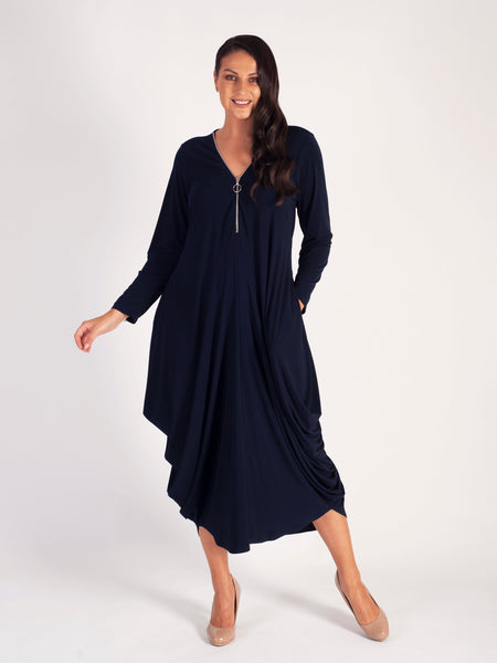 Navy Zip Detail Jersey Drape Dress