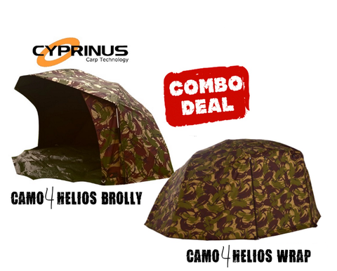 "Ex Display Cyprinus 55"" CAMO4 Helios Carp Fishing Brolly & Wrap Combo Deal"