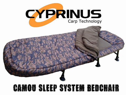Cyprinus™ Camouflage Carp fishing bedchair & 5 Season Sleeping bag sleep system
