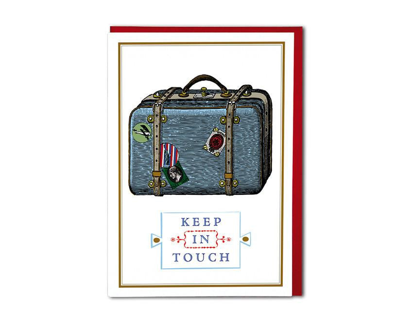 Premium greeting card from Chase and Wonder. Nostalgic style design of suitcase, reads 'Keep In Touch' in blue and black ink. Printed on 320gsm rives card, blank inside paired with a red envelope.