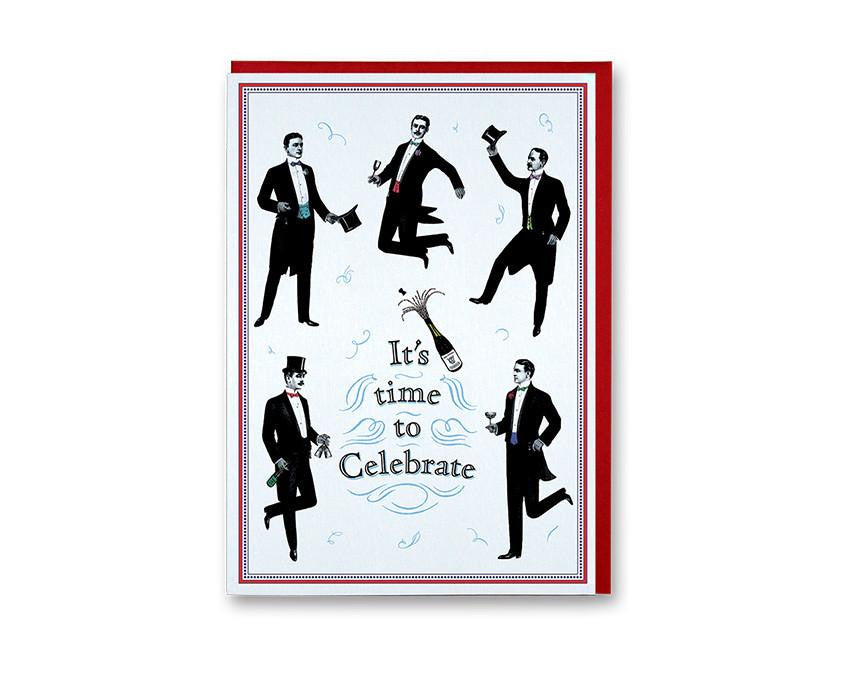 Premium greeting card from Chase and Wonder. Nostalgic style design of gentleman celebrating with champagne, reads 'It's time to Celebrate' in blue and black ink. Printed on 320gsm rives card, blank inside paired with a red envelope.