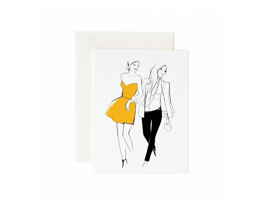 Graphic Friends Greeting Card by Garance Dore with white envelope at onceuponaflutter.com