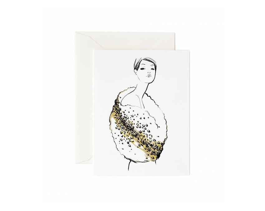 Graphic Fur Greeting Card by Garance Dore with white envelope at onceuponaflutter.com