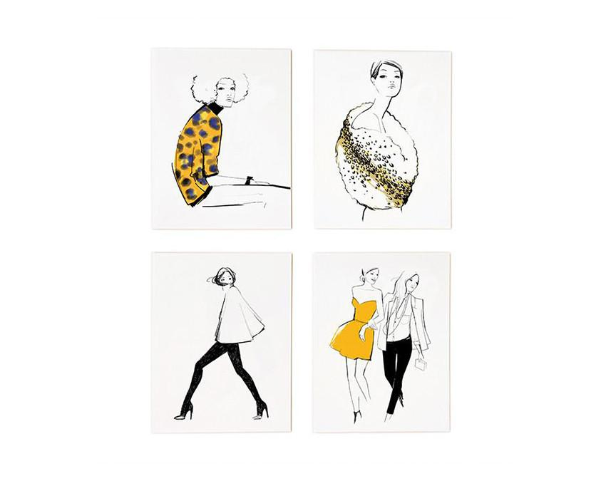 Set of 8 Assorted Graphic Greeting Cards by Garance Dore with white envelopes at onceuponaflutter.com