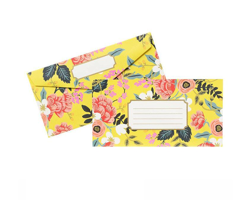 Boxed set of 25 envelopes with a yellow botanical print at www.onceuponaflutter.com