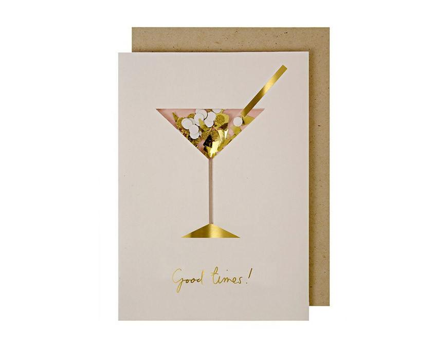Cocktail Confetti Card with kraft envelope at onceuponaflutter.com