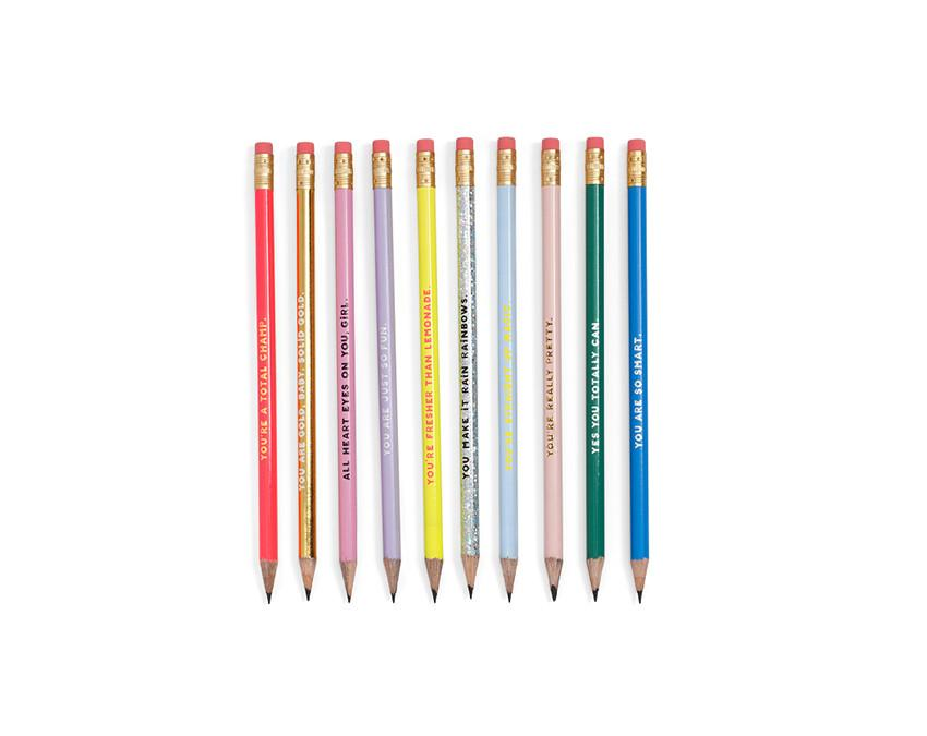 Set of 10 pencils with a compliment on the side and pink eraser at www.onceuponaflutter.com