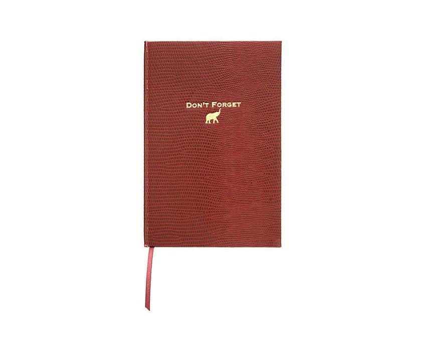 Don't Forget Pocket Notebook in burgundy lizard stock and gold foil at onceuponaflutter.com