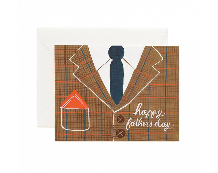 Illustrated Happy Fathers Day card featuring tweed suit and tie at www.onceuponaflutter.com