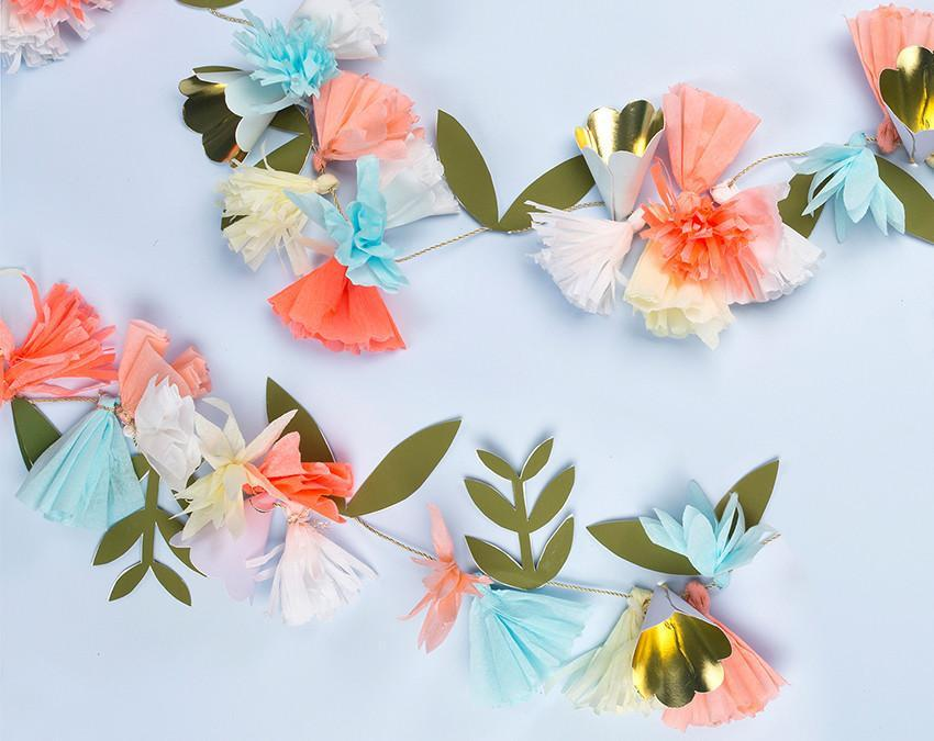 7ft flower bouquet garland made in peach, coral and sky blue at www.onceuponaflutter.com