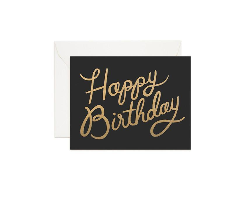 Gold Birthday Greeting Card with white envelope at onceuponaflutter.com
