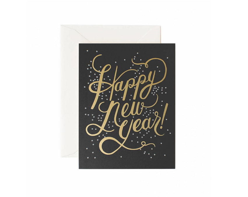 Happy new year card with gold ink on black background at www.onceuponaflutter.com