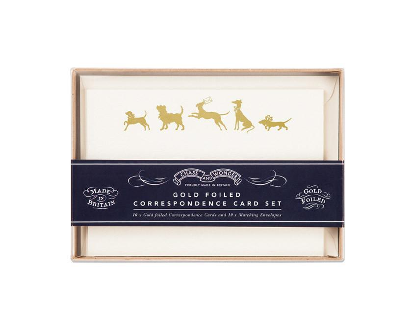 Set of 10 Happy Hounds Cards with gold foil and matching envelopes at onceuponaflutter.com