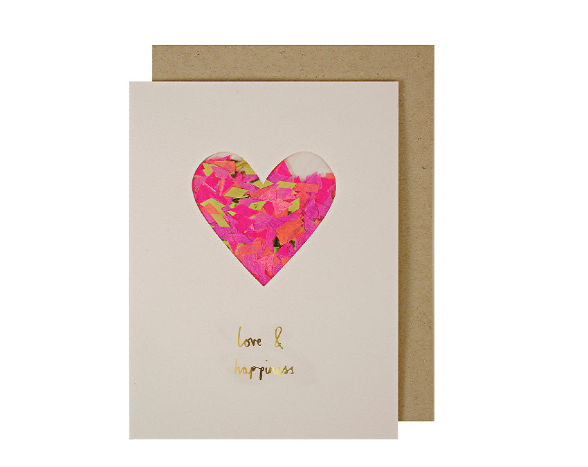 Heart card with confetti sealed inside with kraft envelope at www.oneuponaflutter.com