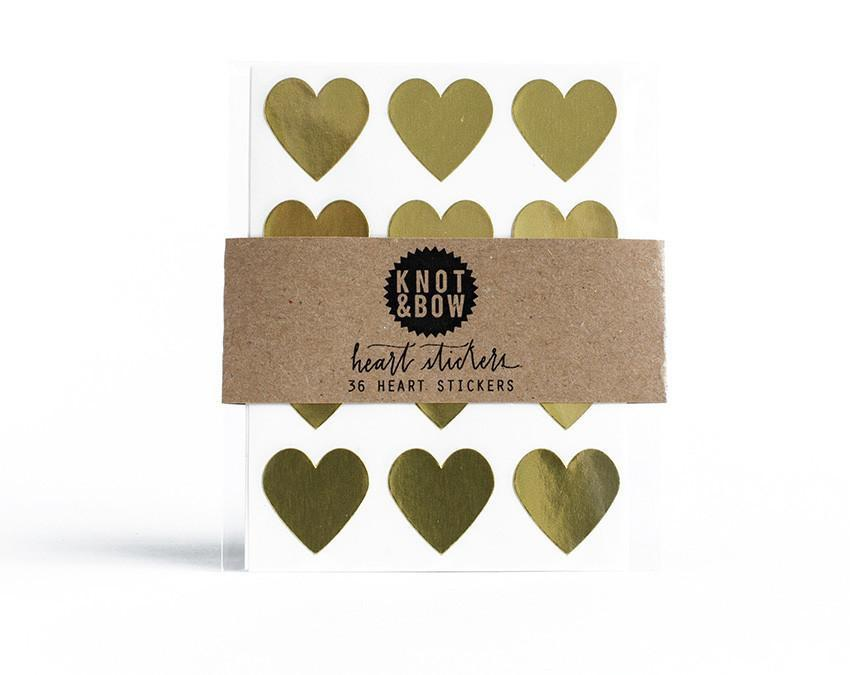 Pack of 36 gold heart shaped stickers at www.onceuponaflutter.com