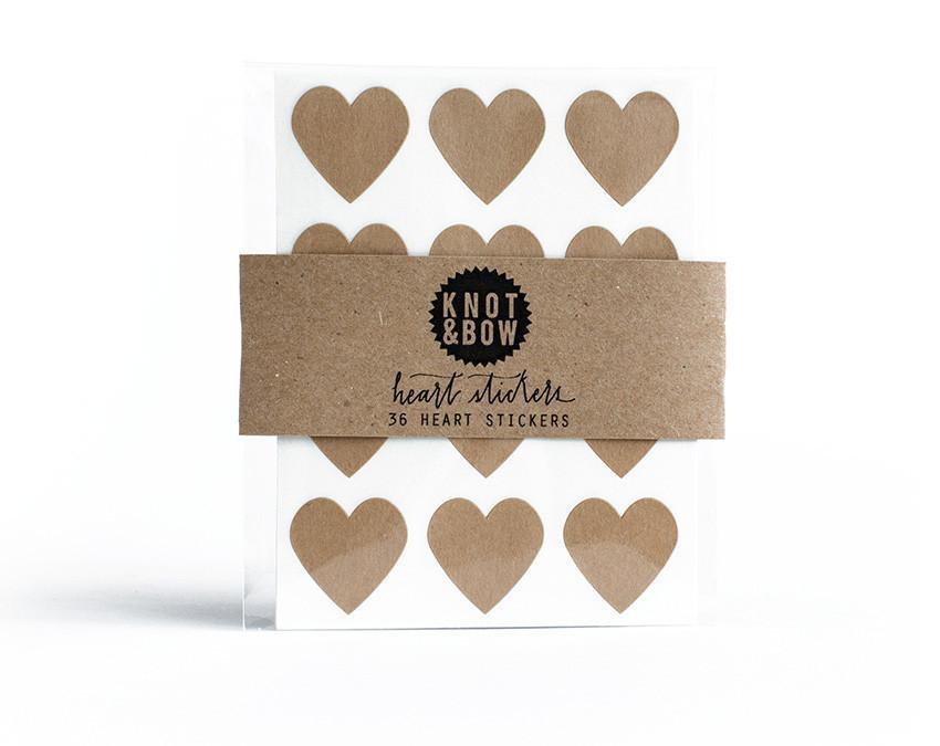 Pack of 36 kraft heart shaped stickers at www.onceuponaflutter.com