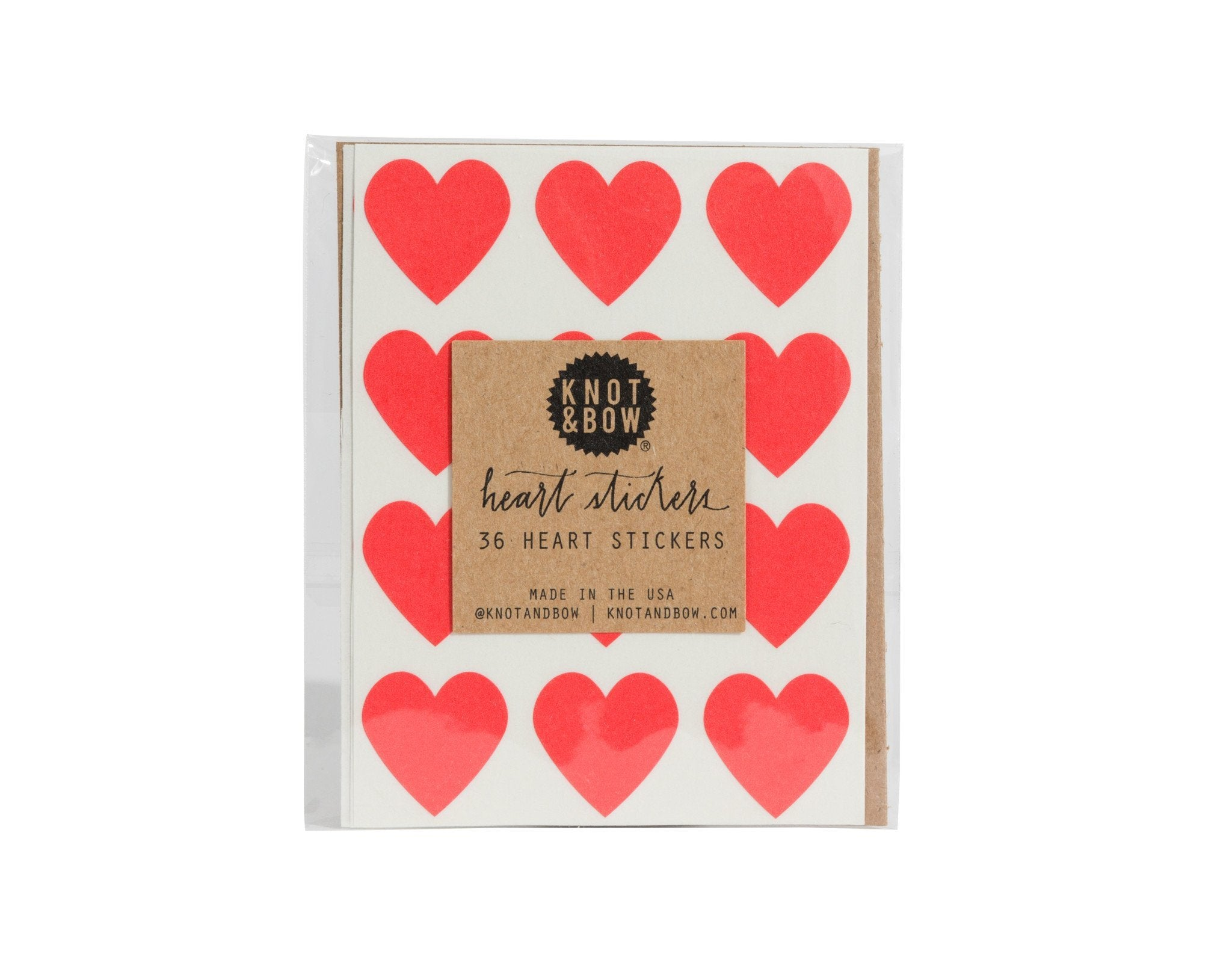 Pack of 36 red heart shaped stickers at www.onceuponaflutter.com