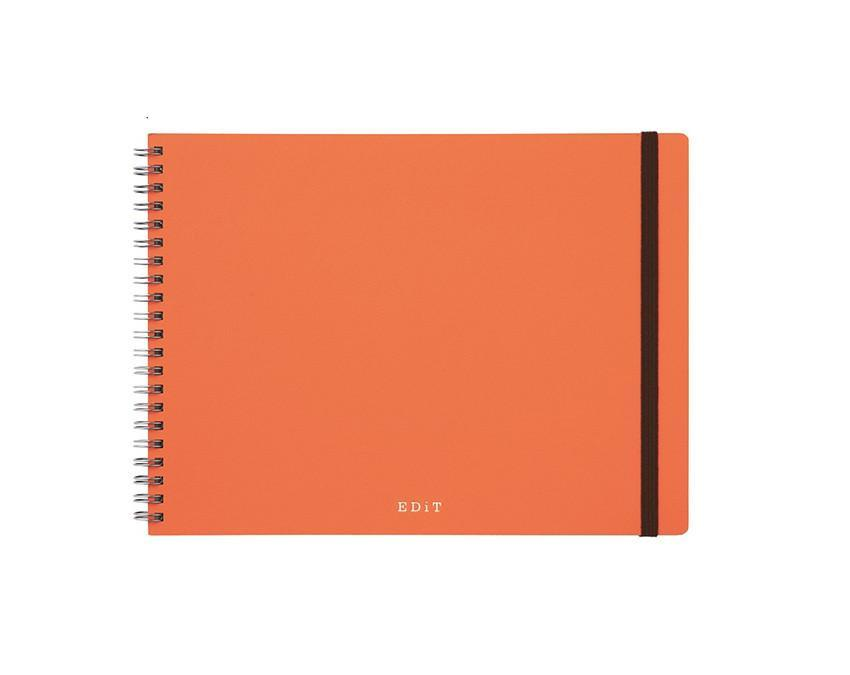 Orange spiral bound notebook with 70 pages of dotted grid and blank pages at www.onceuponaflutter.com