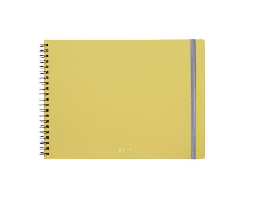 Yellow spiral bound notebook with 70 pages of dotted grid and blank pages at www.onceuponaflutter.com