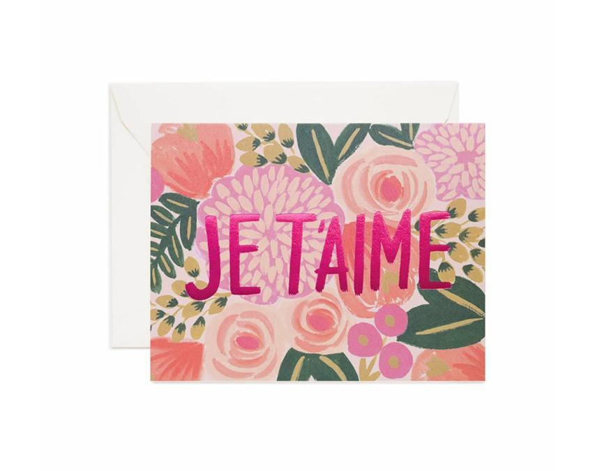 Floral typographic card printed with pink foil lettering with white envelope at www.onceuponaflutter.com