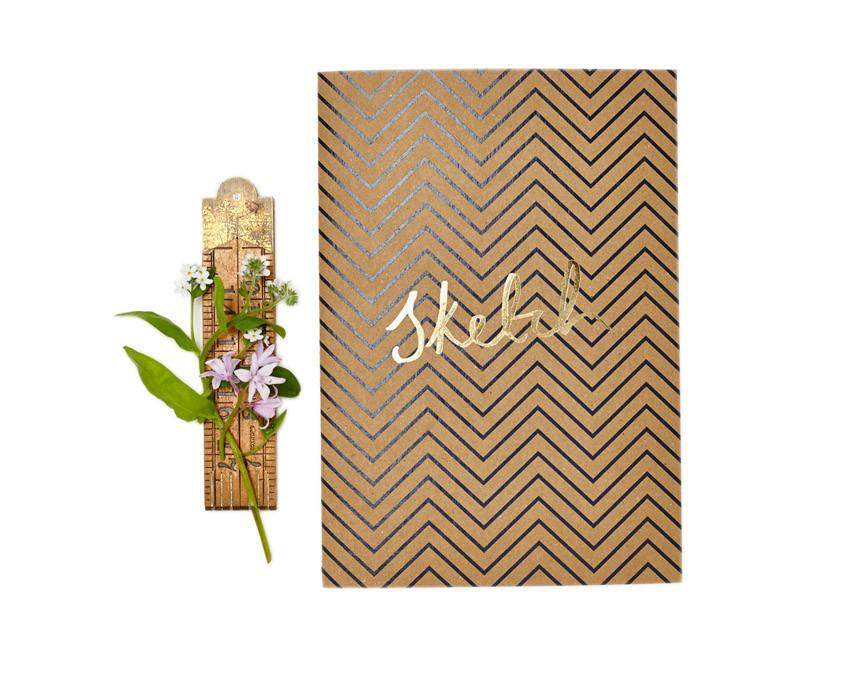 Kraft Chevron Notebook with sketch in gold foil at www.onceuponaflutter.com