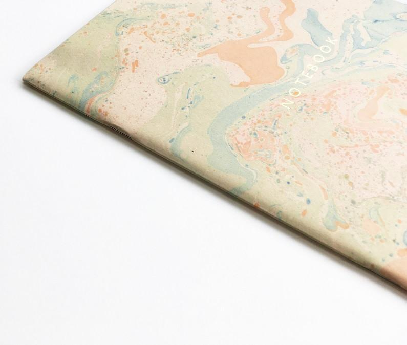 Pastel coloured marble Notebook at www.onceuponaflutter.com