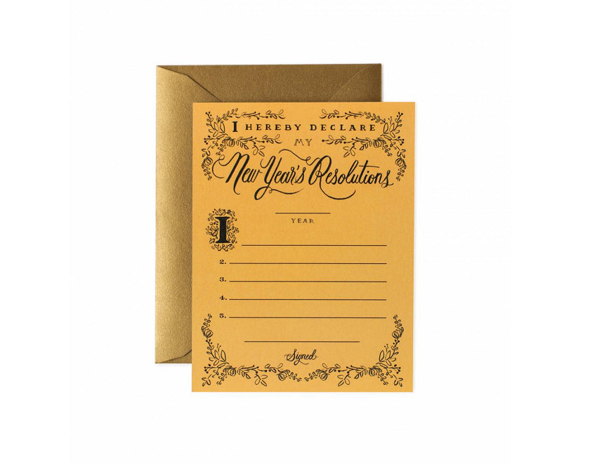 Typographic 'New Year Resolutions' greeting card in mustard yellow at www.onceuponaflutter.com
