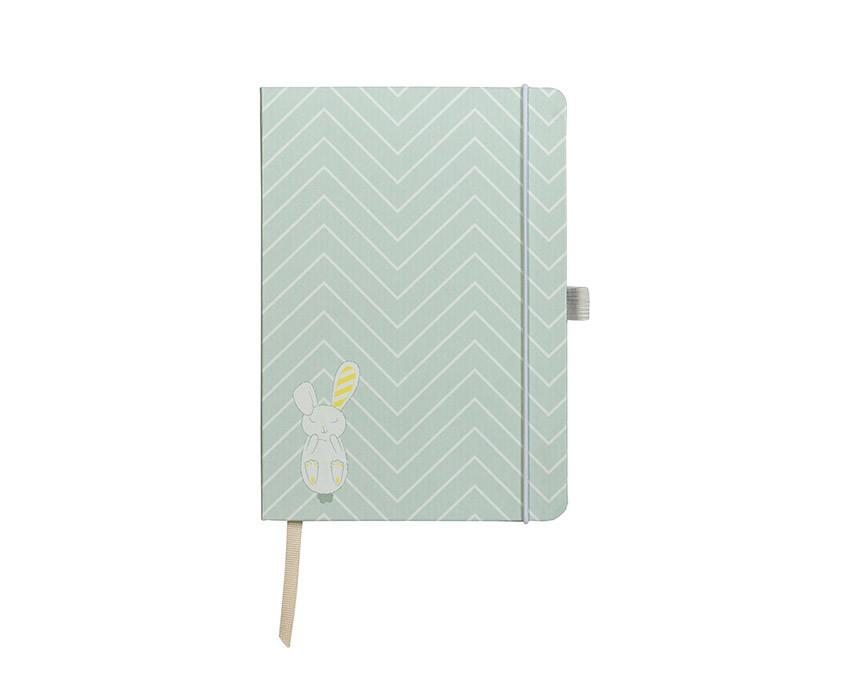 Pregnancy journal in mint colour that includes diary, planner and notebook in one at www.onceuponaflutter.com