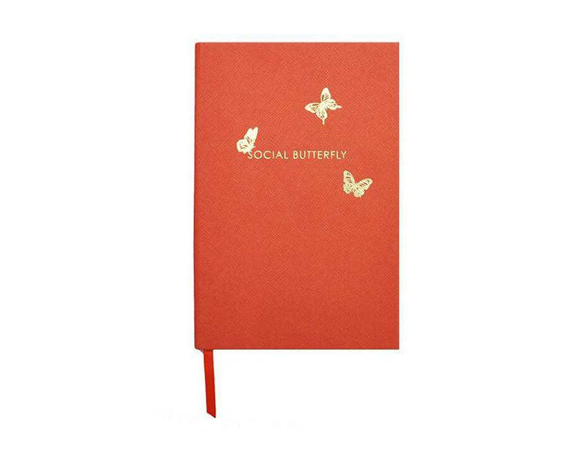 Lined Social Butterfly Notebook in bright orange grain stock and gold foil at www.onceuponaflutter.com