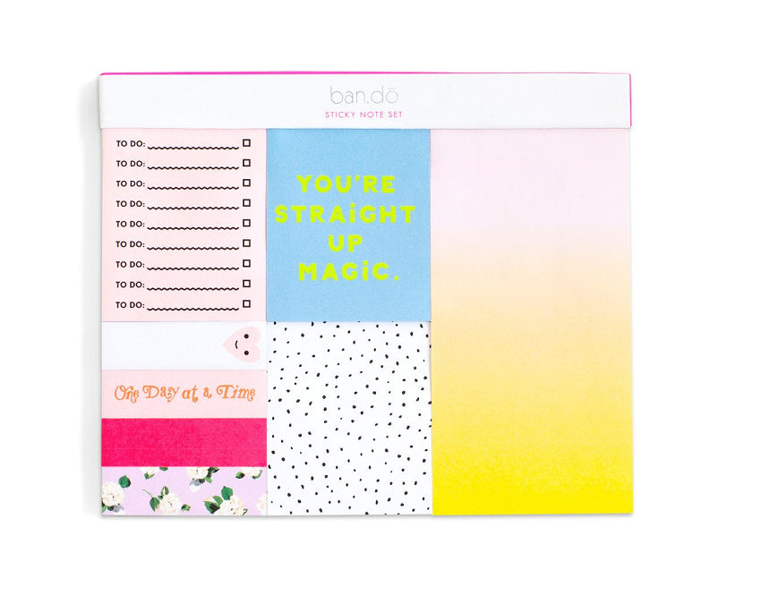 Set of 8 adhesive notepads with 100 sheets each in bright colours at www.onceuponaflutter.com