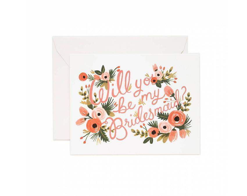 Will You Be My Bridesmaid Greeting Card with white envelope at onceuponaflutter.com