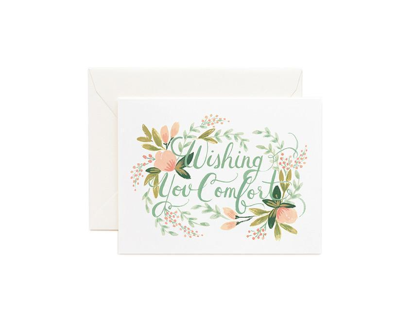 Wishing You Comfort Greeting Card with white envelope at onceuponaflutter.com