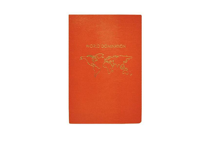 Lined World Domination Notebook in orange lizard stock with gold gliding at www.onceuponaflutter.com