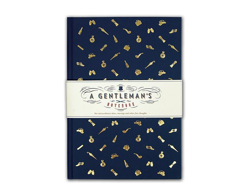 The gentleman's navy and gold foil notebook at onceuponaflutter.com