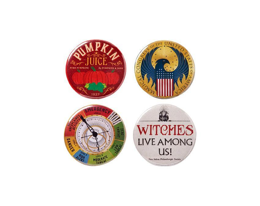 Circular Harry Potter pin badges with steel pin backs at www.onceuponaflutter.com