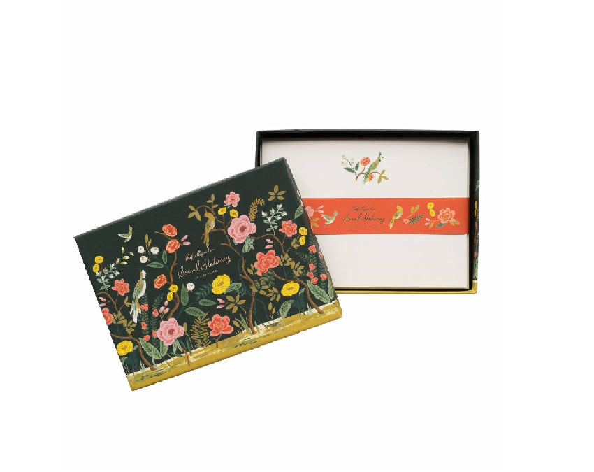 Set of 12 shanghai garden notecards with floral design at www.onceuponaflutter.com