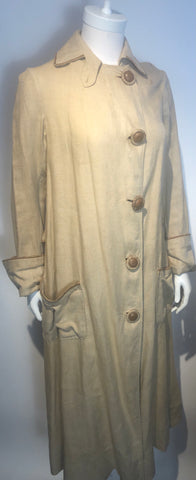 Antique Linen W/ Leather Duster Edwardian Workwear Auto Robe