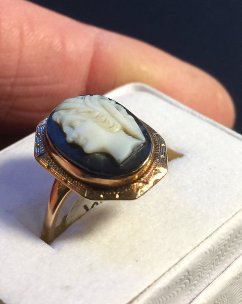Victorian Black Stone Cameo Ring 14k Rose Gold
