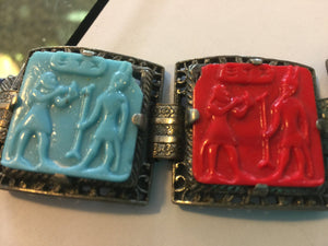 "1930's Egyptian Style Multi Color Glass Tiles 8"" long BRACELET"
