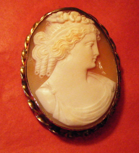 Quality Hand Carved Shell Cameo Pin/Brooch, Classic Profile PIN or PENDANT
