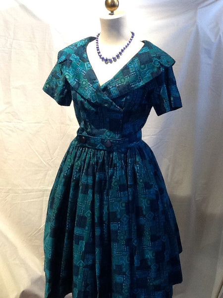 VLV 60's Turquoise Batik print SMALL Full skirted dress