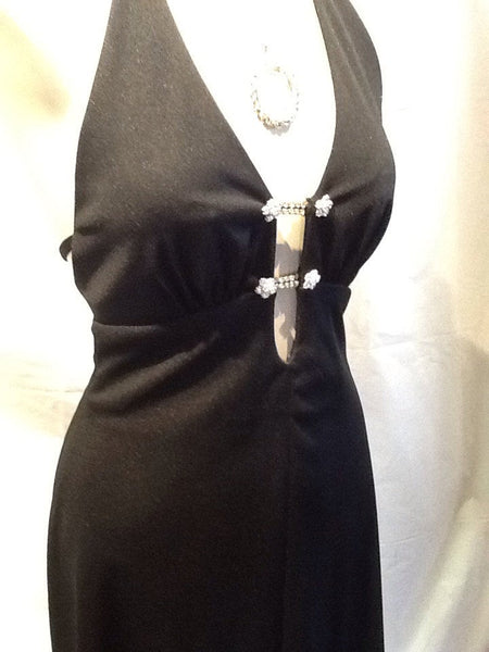 1970's  Sexy Black Long Dress with Rhinestones