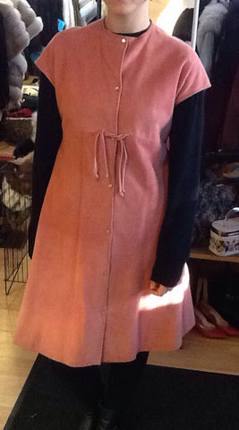 70s SILS by Bonnie Cashin Pink Suede Jumper Dress