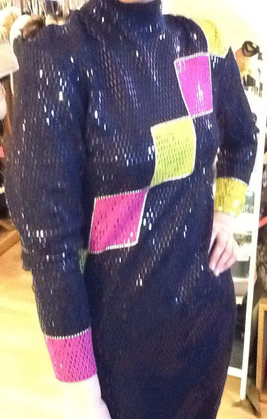 St John Knit by Marie Gray Color Block Op Art Dress