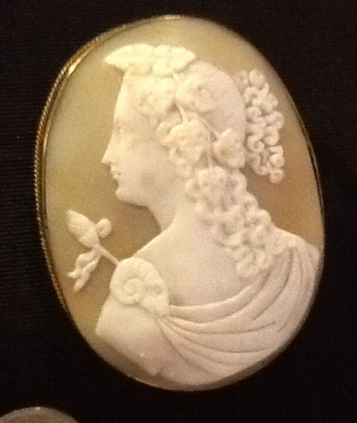 Antique LARGE CAMEO Pin Brooch 1890