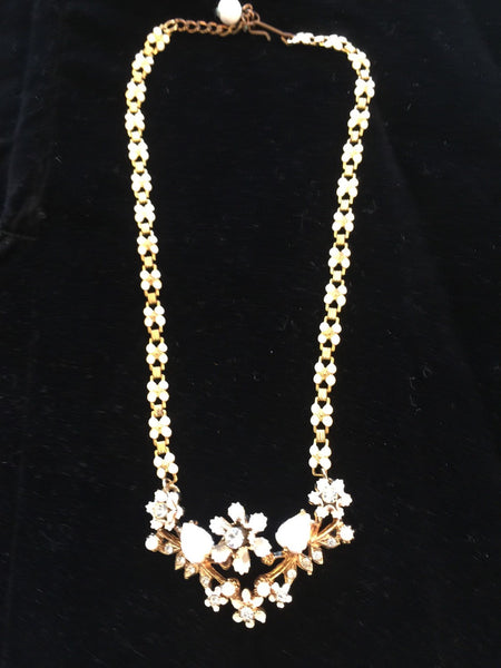 Vtg Pretty Floral Necklace Bridal Fancy